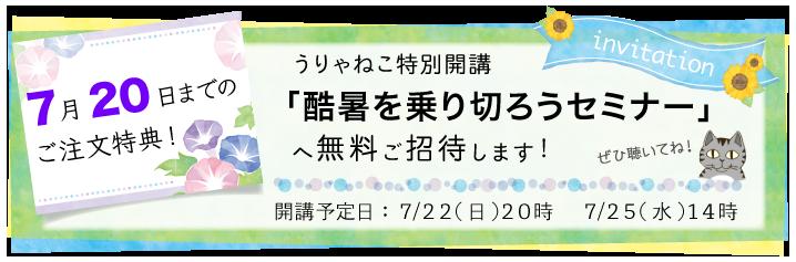 7月20日までにご購入いただいた方を、酷暑を乗り切ろうセミナーへご招待!
